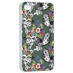 Vintage flowers and birds pattern iPhone 4/4s Seamless Case (White)
