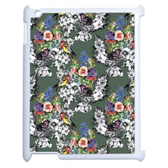 Vintage flowers and birds pattern Apple iPad 2 Case (White)