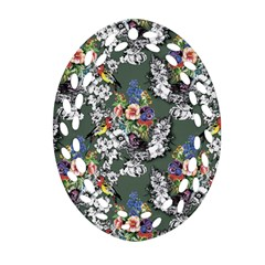 Vintage flowers and birds pattern Ornament (Oval Filigree)