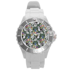 Vintage flowers and birds pattern Round Plastic Sport Watch (L)