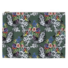 Vintage flowers and birds pattern Cosmetic Bag (XXL)