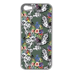 Vintage flowers and birds pattern iPhone 5 Case (Silver)