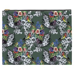 Vintage flowers and birds pattern Cosmetic Bag (XXXL)
