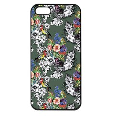 Vintage flowers and birds pattern iPhone 5 Seamless Case (Black)