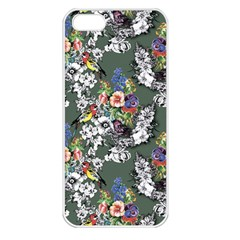 Vintage flowers and birds pattern iPhone 5 Seamless Case (White)