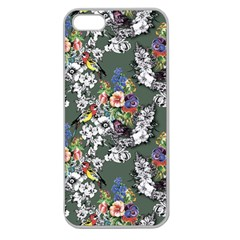 Vintage flowers and birds pattern Apple Seamless iPhone 5 Case (Clear)