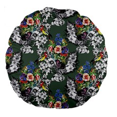 Vintage flowers and birds pattern Large 18  Premium Round Cushions