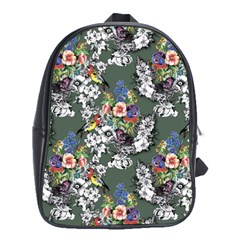 Vintage flowers and birds pattern School Bag (XL)
