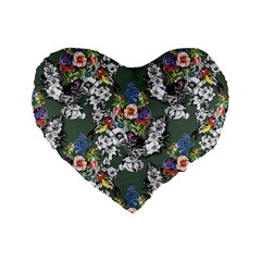 Vintage flowers and birds pattern Standard 16  Premium Heart Shape Cushions