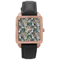 Vintage flowers and birds pattern Rose Gold Leather Watch