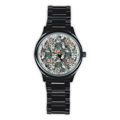 Vintage flowers and birds pattern Stainless Steel Round Watch