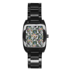 Vintage flowers and birds pattern Stainless Steel Barrel Watch