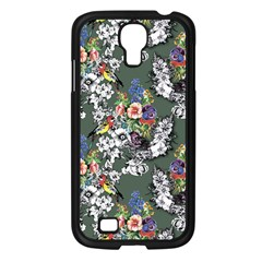 Vintage flowers and birds pattern Samsung Galaxy S4 I9500/ I9505 Case (Black)