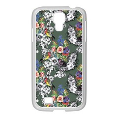 Vintage flowers and birds pattern Samsung GALAXY S4 I9500/ I9505 Case (White)