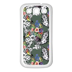 Vintage flowers and birds pattern Samsung Galaxy S3 Back Case (White)