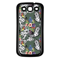 Vintage flowers and birds pattern Samsung Galaxy S3 Back Case (Black)