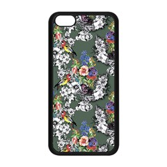 Vintage flowers and birds pattern iPhone 5C Seamless Case (Black)