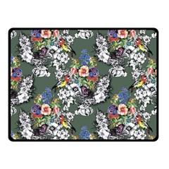 Vintage flowers and birds pattern Double Sided Fleece Blanket (Small)