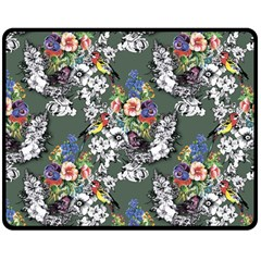 Vintage flowers and birds pattern Double Sided Fleece Blanket (Medium)