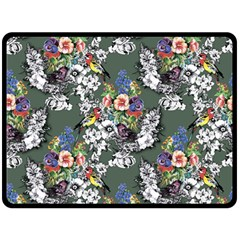 Vintage flowers and birds pattern Double Sided Fleece Blanket (Large)