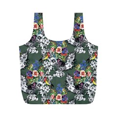 Vintage flowers and birds pattern Full Print Recycle Bag (M)