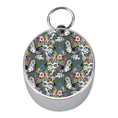 Vintage flowers and birds pattern Mini Silver Compasses