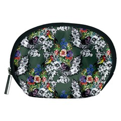 Vintage flowers and birds pattern Accessory Pouch (Medium)