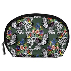 Vintage flowers and birds pattern Accessory Pouch (Large)