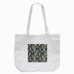 Vintage flowers and birds pattern Tote Bag (White)
