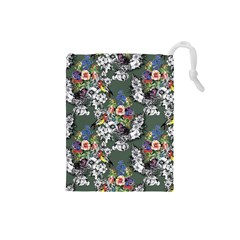 Vintage flowers and birds pattern Drawstring Pouch (Small)