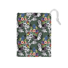 Vintage flowers and birds pattern Drawstring Pouch (Medium)