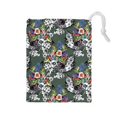 Vintage flowers and birds pattern Drawstring Pouch (Large)