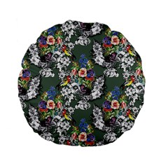Vintage flowers and birds pattern Standard 15  Premium Flano Round Cushions