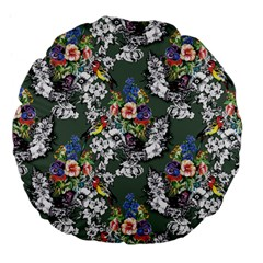 Vintage flowers and birds pattern Large 18  Premium Flano Round Cushions