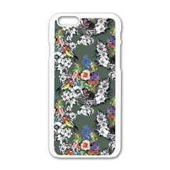Vintage flowers and birds pattern iPhone 6/6S White Enamel Case