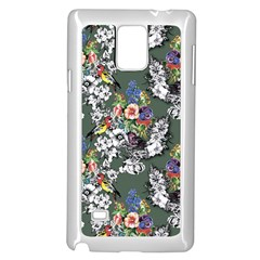 Vintage flowers and birds pattern Samsung Galaxy Note 4 Case (White)