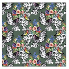 Vintage flowers and birds pattern Large Satin Scarf (Square)