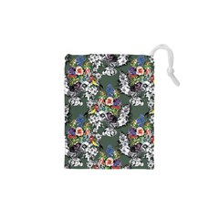 Vintage flowers and birds pattern Drawstring Pouch (XS)