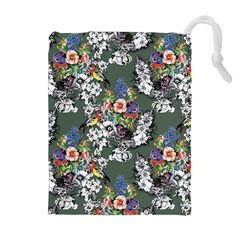 Vintage flowers and birds pattern Drawstring Pouch (XL)