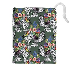 Vintage flowers and birds pattern Drawstring Pouch (XXL)