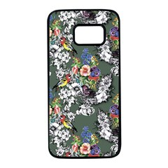 Vintage flowers and birds pattern Samsung Galaxy S7 Black Seamless Case