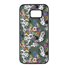 Vintage flowers and birds pattern Samsung Galaxy S7 edge Black Seamless Case