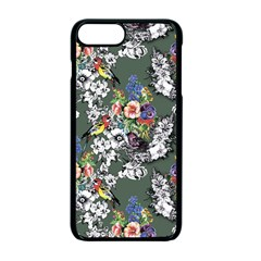 Vintage flowers and birds pattern iPhone 7 Plus Seamless Case (Black)
