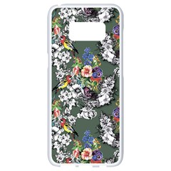 Vintage flowers and birds pattern Samsung Galaxy S8 White Seamless Case