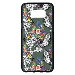 Vintage flowers and birds pattern Samsung Galaxy S8 Plus Black Seamless Case