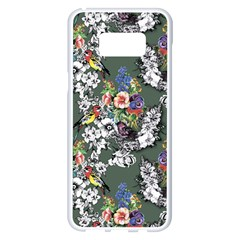 Vintage flowers and birds pattern Samsung Galaxy S8 Plus White Seamless Case