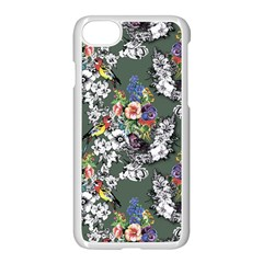 Vintage flowers and birds pattern iPhone 8 Seamless Case (White)