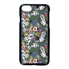 Vintage flowers and birds pattern iPhone 8 Seamless Case (Black)