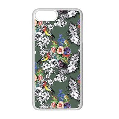Vintage flowers and birds pattern iPhone 8 Plus Seamless Case (White)