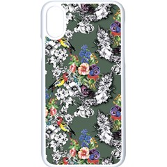 Vintage flowers and birds pattern iPhone X Seamless Case (White)